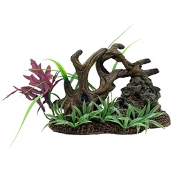 Twisted Driftwood with Rock & Plants Medium