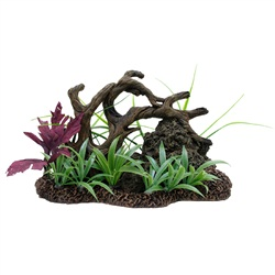 Twisted Driftwood with Rock & Plants Large