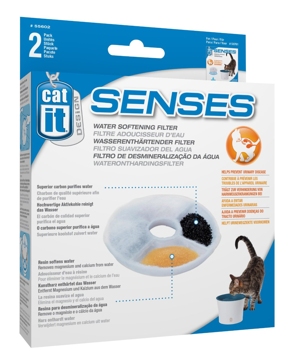 Catit Design Senses Water Softening Filter, 2-pack