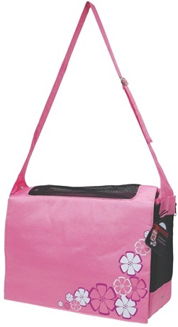 Dogit Nylon Messenger Dog Carry Bag, Aloha, Pink