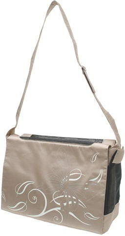 Dogit Nylon Messenger Dog Carry Bag, Butterfly, Beige